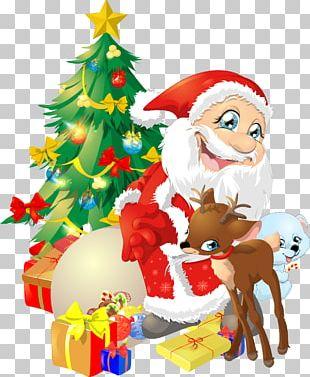 Christmas Tree Santa Claus Reindeer Père Noël PNG