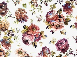 Classical Hand-painted Flowers Background Texture PNG