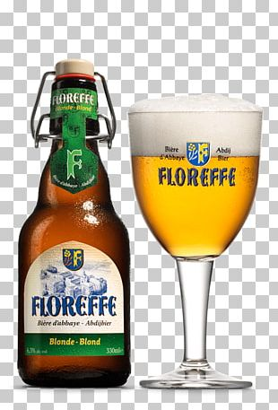 Floreffe Beer Blonde With Glass PNG