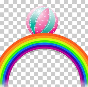 Hot Air Balloon Rainbow Color PNG