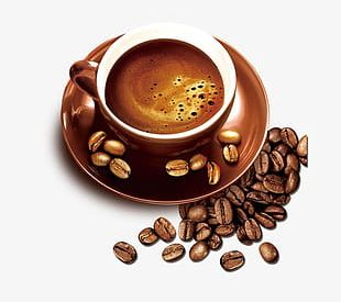 Gold Coffee Cup Coffee Beans PNG