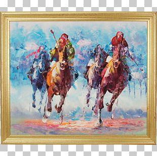 Horse Racing Watercolor Painting Art PNG