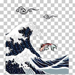 The Great Wave Off Kanagawa Japan Ukiyo-e Printmaking Poster PNG