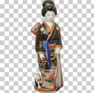 Geisha Figurine Woman Kutani Ware Japanese Art PNG