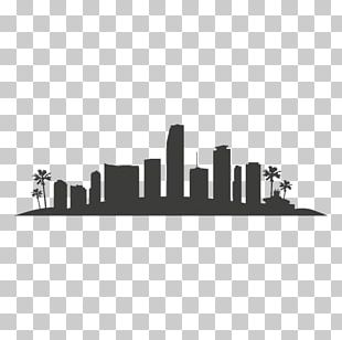 Miami Skyline Silhouette Drawing PNG