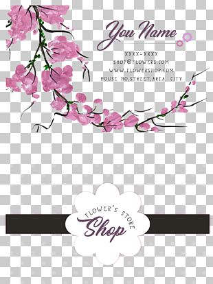Cherry Blossom Business Card PNG