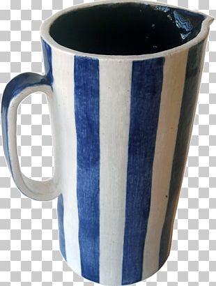 Coffee Cup Ceramic Pottery Mug Cobalt Blue PNG