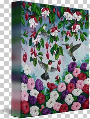 Floral Design Canvas Print Hummingbird Painting PNG