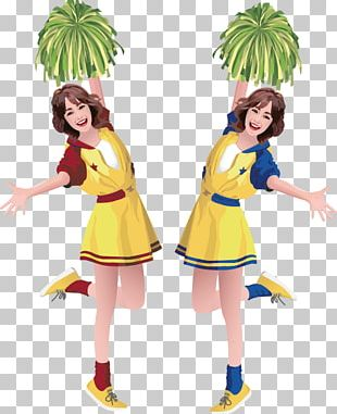 Cartoon Cheerleader Illustration PNG