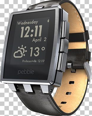 Pebble Time Pebble STEEL Smartwatch Brushed Metal PNG