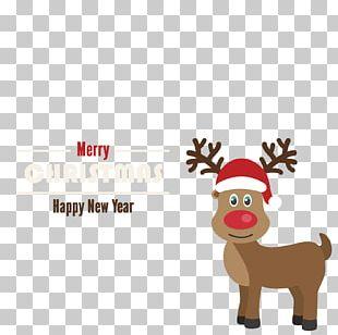 Santa Clauss Reindeer Rudolph Christmas Card PNG