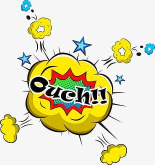 Yellow Ouch Explosion PNG