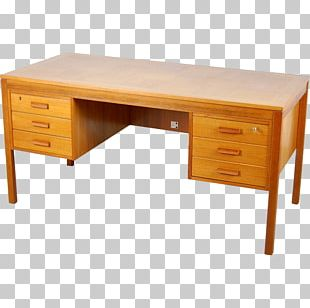Desk Table Drawer Parquetry Teak PNG