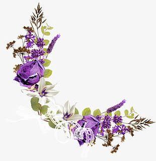 Purple Floral Corner Decorative Pattern PNG