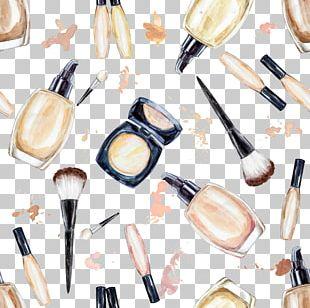 Cosmetics Foundation Makeup Brush Watercolor Painting PNG