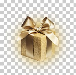 Gift Wrapping Gold Christmas Gift Stock Photography PNG
