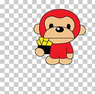 Primate Chinese New Year Monkey Greeting Card PNG