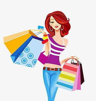 Girl Carrying Shopping Bags Element PNG