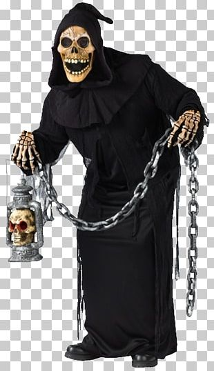 Ghoul Robe Halloween Costume Mask PNG