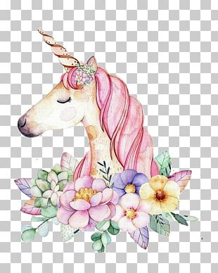 Unicorn Art Watercolor Painting PNG