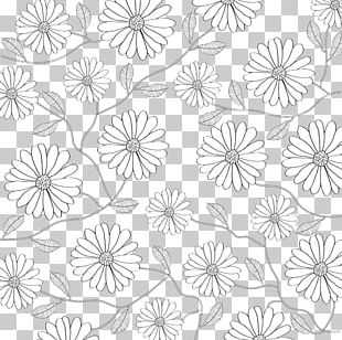 Black And White Flower Petal Pattern PNG