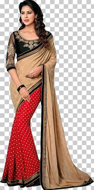 Wedding Sari Georgette Chiffon Fashion PNG