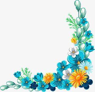 Blue Fancy Flower Border Texture PNG