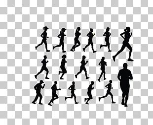 Silhouette Running Illustration PNG