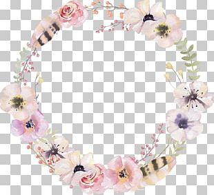 Watercolor Flower Round Border Decorative Pattern PNG