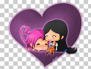 Cartoon Violet Character Heart PNG