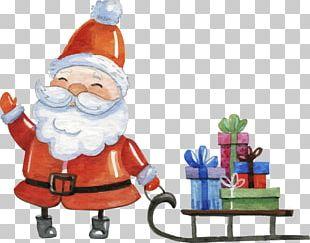 Santa Claus Boxing Day Christmas Card Sled PNG