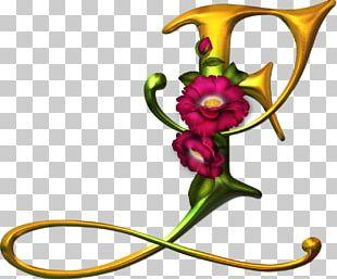 Flower Gothic Alphabet Letter Floral Design PNG