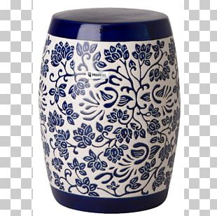 Ceramic Stool Blue And White Pottery Table Garden PNG