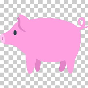 Domestic Pig Emoji Sticker Text Messaging PNG