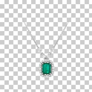 Emerald Locket Necklace Body Jewellery PNG