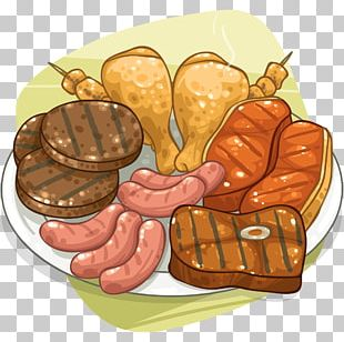 Roast Chicken Barbecue Grill Meat Sausage Food PNG