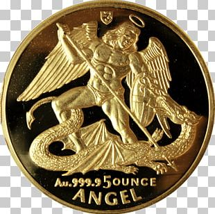 Michael Coin Collecting Angel Gold Coin PNG