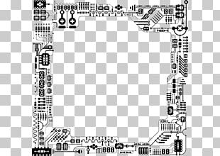 Black And White Electrical Network Printed Circuit Board Electronic Circuit PNG