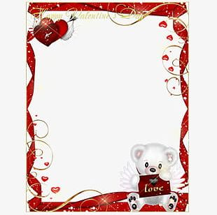 Romantic Valentine Bear Photo Frame PNG