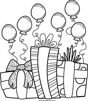 Birthday Black White PNG
