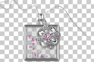 Locket Body Jewellery Silver Pink M PNG