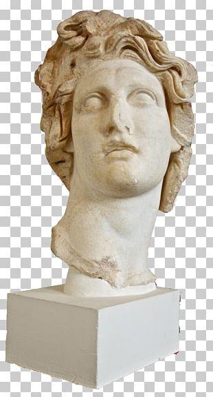 Vaporwave Statue Bust Marble Sculpture David PNG