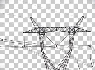 High Voltage Electric Power Distribution Overhead Power Line PNG
