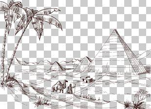 Desert Drawing Landscape Sketch PNG
