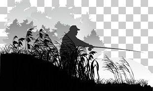Silhouette Fisherman Illustration PNG