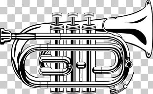 Trumpet Black And White PNG