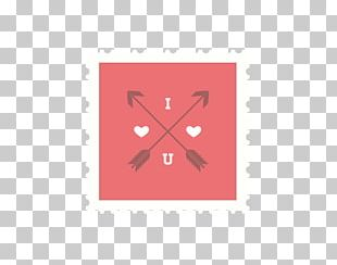 Valentines Day Postage Stamp Red PNG