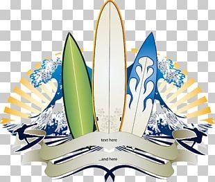 Big Wave Surfing Banner Surfboard PNG