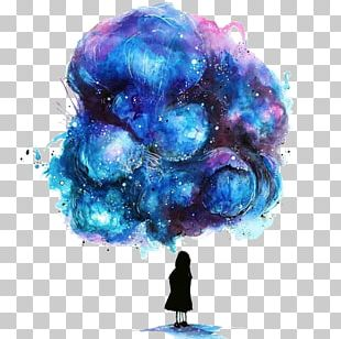 Watercolor Painting Drawing Galaxy Girl Illustration PNG