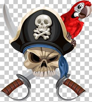 Parrot Piracy Hat Jolly Roger PNG